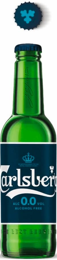 bottle of Carlsberg alcohol-free  with 0.0 alcohol percent