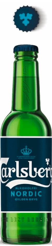 carlsberg nordic bottle with label for low-alcohol beer