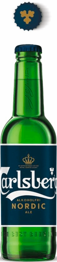 bottle of carlsberg alcohol free ale with label in the front