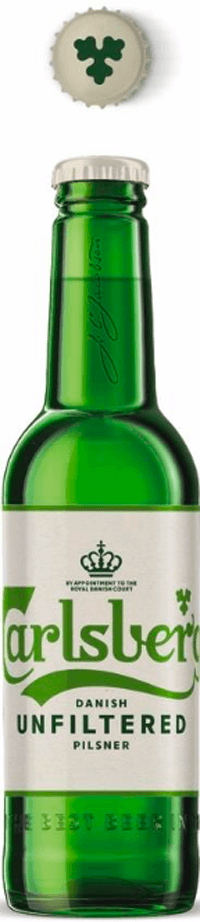 bottle of unfiltered beer by Carlsberg brewery